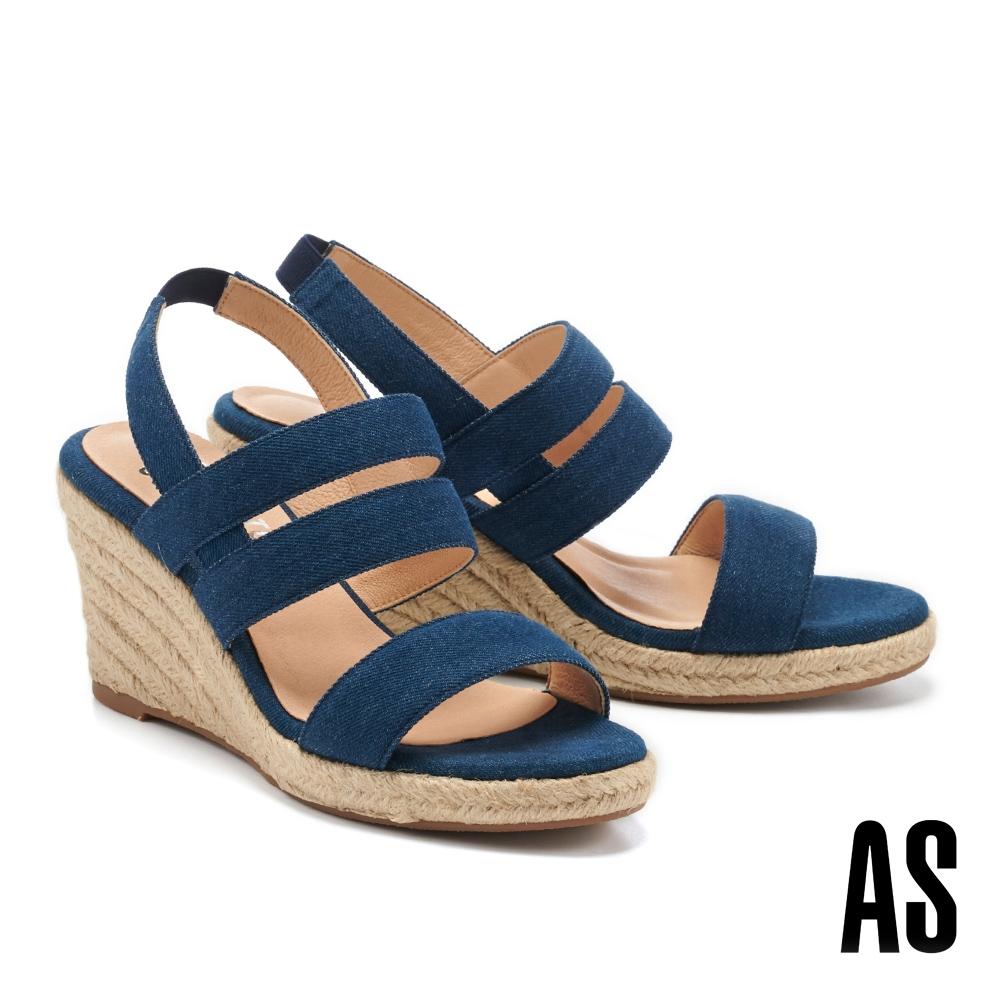 涼鞋 AS 愜意時尚寬繫帶草編楔型高跟涼鞋-藍