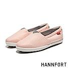 HANNFORT CALIFORNIA銀光緹花布氣墊休閒鞋-女-嫩粉