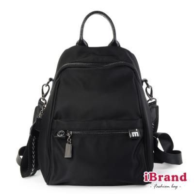 iBrand後背包 真皮趣味尼龍大開口2WAY後背包-黑色
