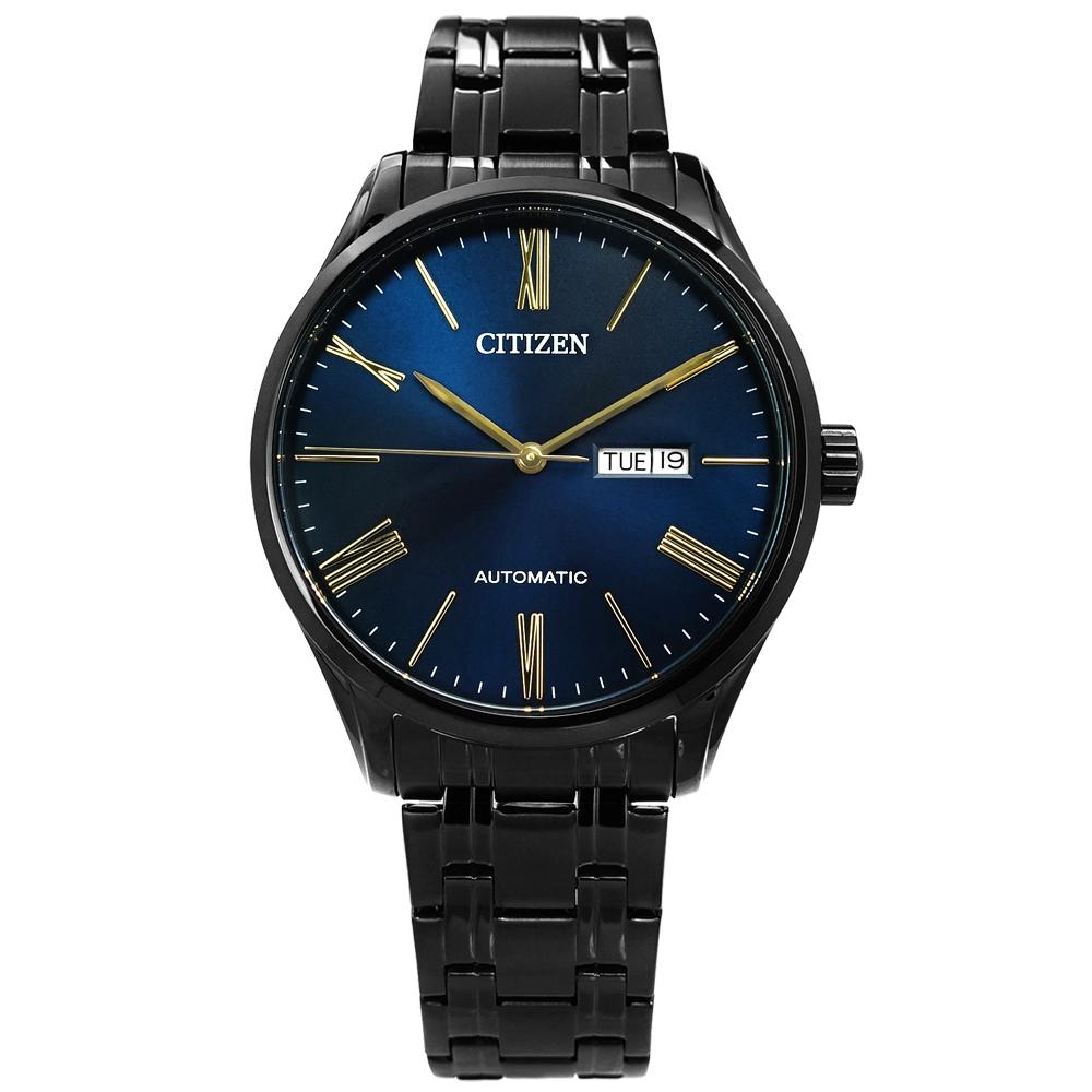 CITIZEN自動上鍊星期日期視窗機械錶(NH8365-86M)-藍x鍍黑/41mm @ Y!購物