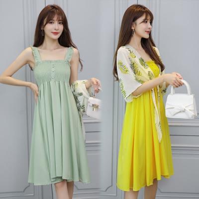 【韓國K.W.】(預購) 女人話題美魔女海島假期套裝裙