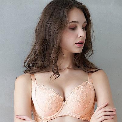 EASY SHOP-愛戀花鏡 大罩杯B-E罩成套內衣(清恬橙)