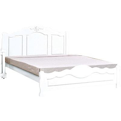 綠活居 杜莎法式白6尺實木雙人加大床台(不含床墊)-184x197x102cm