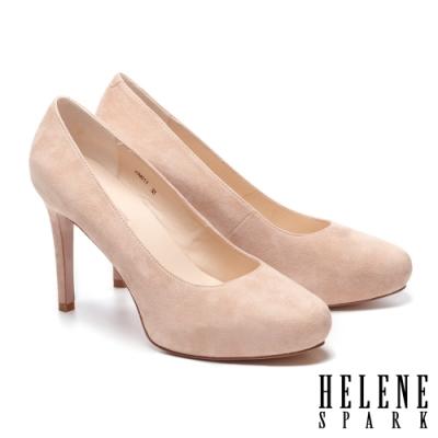 高跟鞋 HELENE SPARK 極簡氣質百搭全真皮美型高跟鞋-米