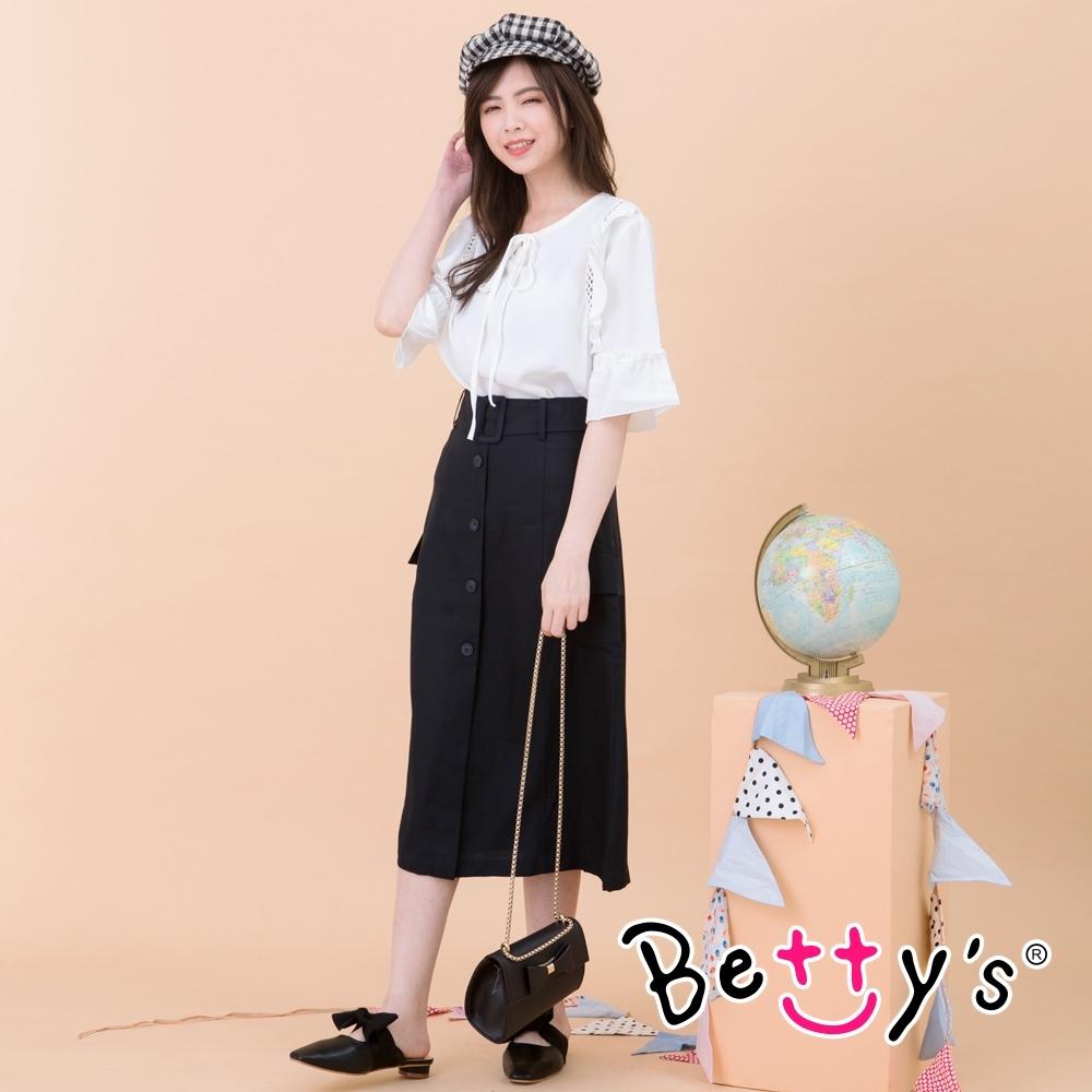 betty's貝蒂思 前開釦腰帶裝飾長裙(黑色)