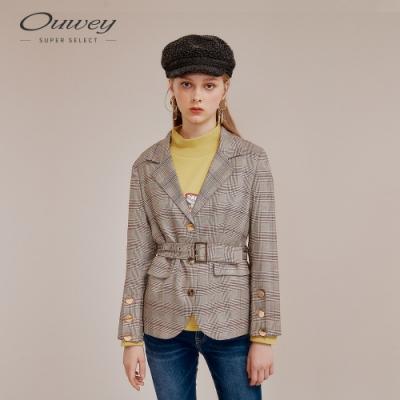OUWEY歐薇 復古格紋西裝外套(紅)