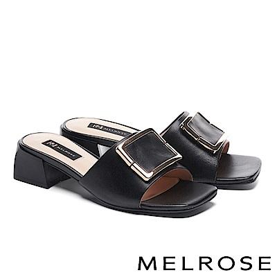 拖鞋 MELROSE 知性時尚金屬方釦羊皮粗高跟拖鞋-黑