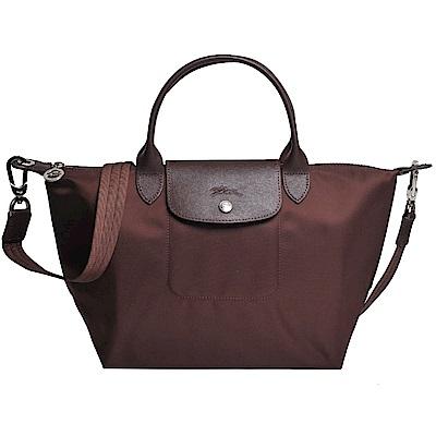 Longchamp Le pliage Neo 厚質尼龍布短帶水餃包/斜背包(深咖啡/小)
