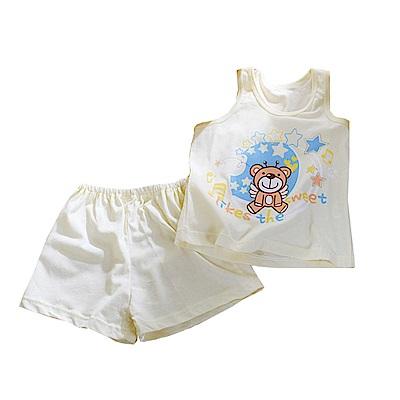 魔法Baby 歡樂熊印花背心套裝 黃 k50463