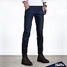 造型皮革直筒男式牛仔長褲 二色-HeHa