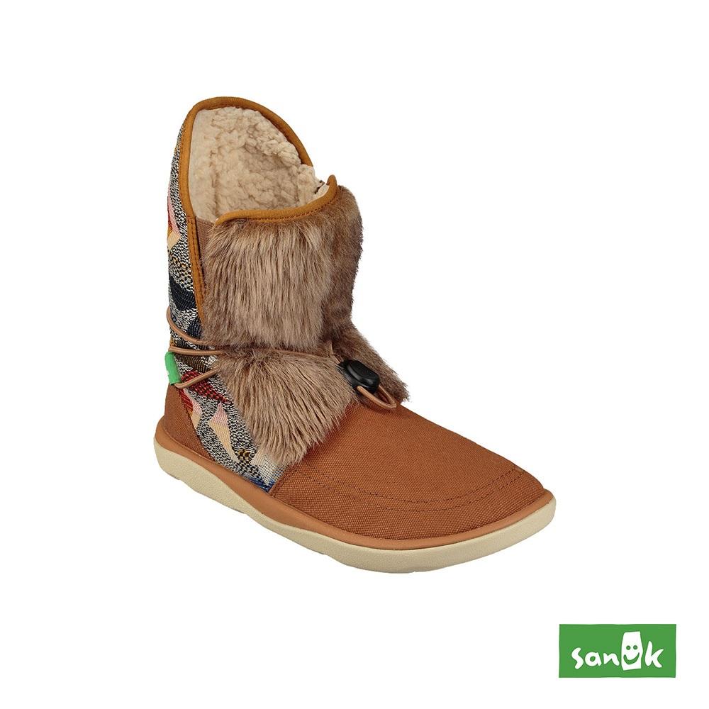 SANUK TRIPPER FLURRY 皮草拼接幾何設計雪靴-女款(咖啡色)