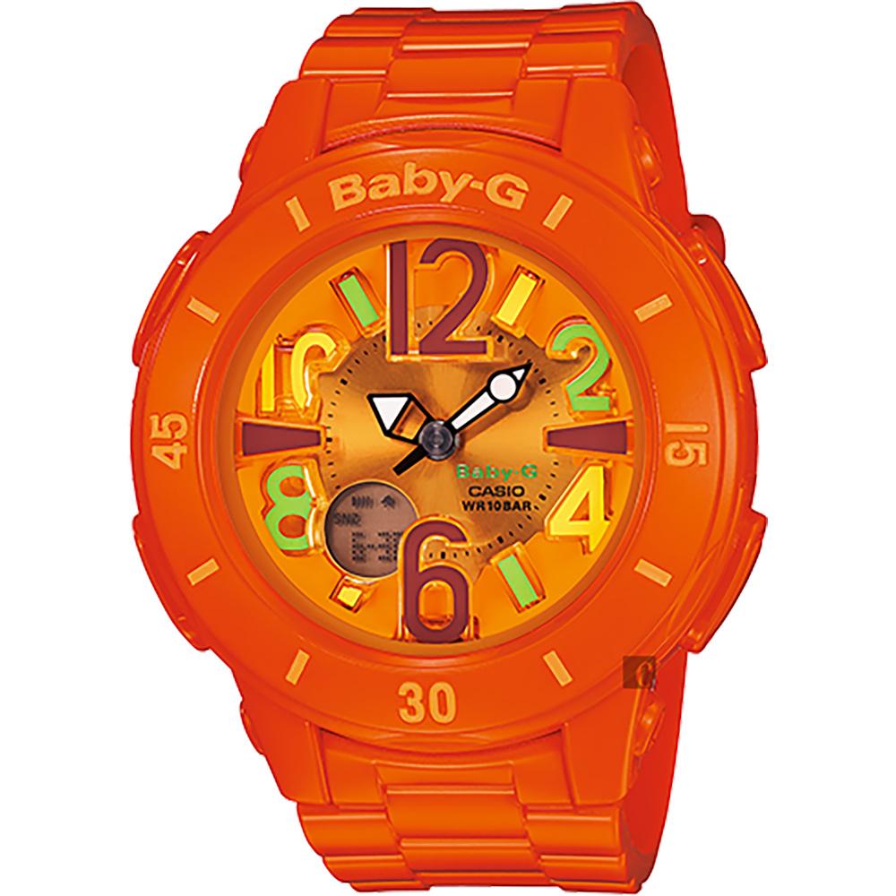 CASIO 卡西歐 Baby-G 霓虹照明手錶-橘(BGA-171-4B2)