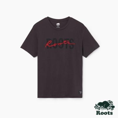 男裝Roots-Script 短袖T恤-灰色