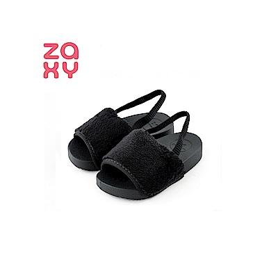 ZAXY 時尚絨毛涼鞋(寶寶款)-黑