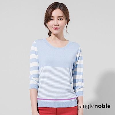 獨身貴族 初春海岸配色變化條紋針織衫(2色)