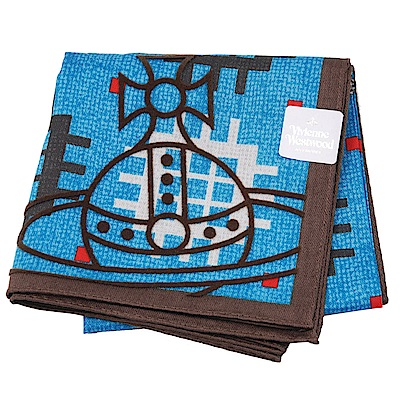 VIVIENNE WESTWOOD 幾何圖騰品牌行星LOGO帕領巾(藍色系) @ Y!購物