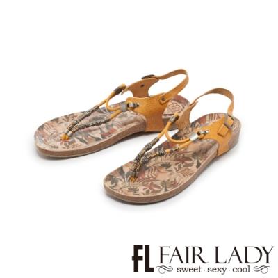 FAIR LADY PORRONET串珠彩繪夾腳兩穿涼拖鞋 土黃