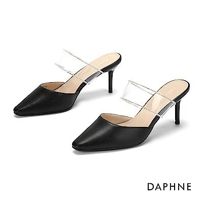 達芙妮DAPHNE 高跟鞋-輕奢鑽飾小方頭穆勒高跟鞋-黑