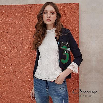 OUWEY歐薇 時尚貼布繡數字縫鑽針織外套(藍)
