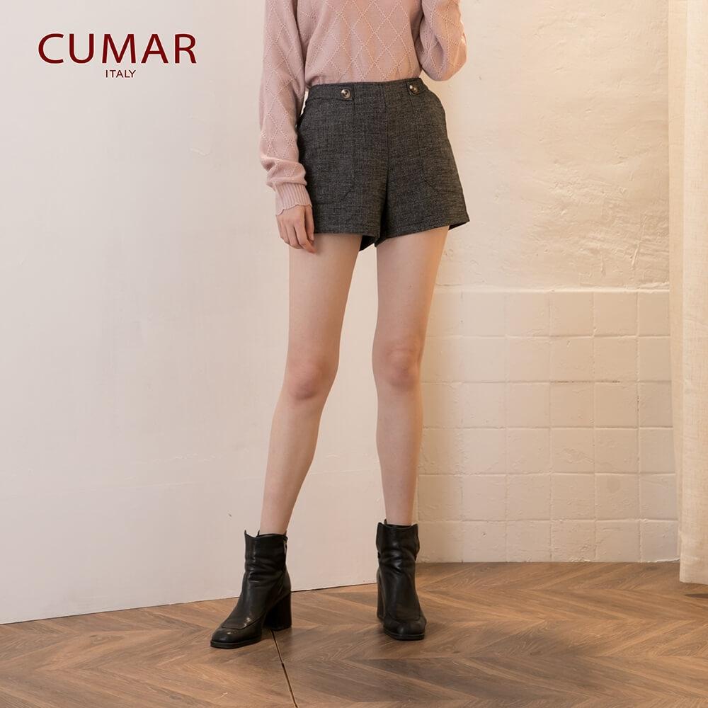【CUMAR】雙色大口袋短褲-褲子(黑色)
