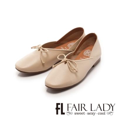 Fair Lady 懶骨頭 素面綁帶後踩兩穿平底鞋 象牙