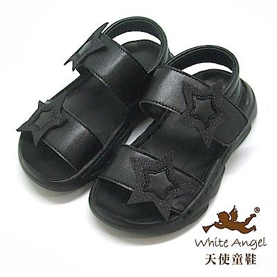 天使童鞋 可愛星星防水涼鞋(小童)i938-黑