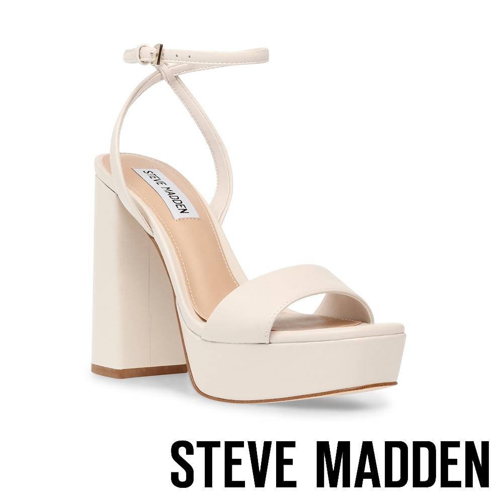STEVE MADDEN-BEAUTY 一字帶厚底繞踝粗高跟女鞋-米杏色