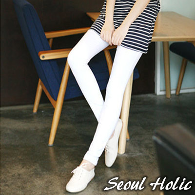【Seoul Holic】純色拼接盾型口袋內搭褲(白色)