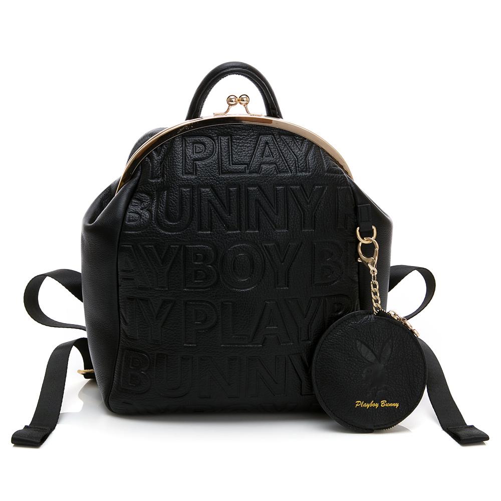PLAYBOY- 後背包 Fashion Brand 時尚烙印系列-黑色