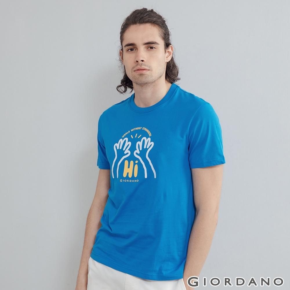 GIORDANO 男裝Greeting印花T恤 - 55 鮮藍
