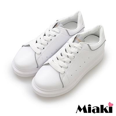 Miaki-休閒鞋.超眩反光厚底運動鞋-白