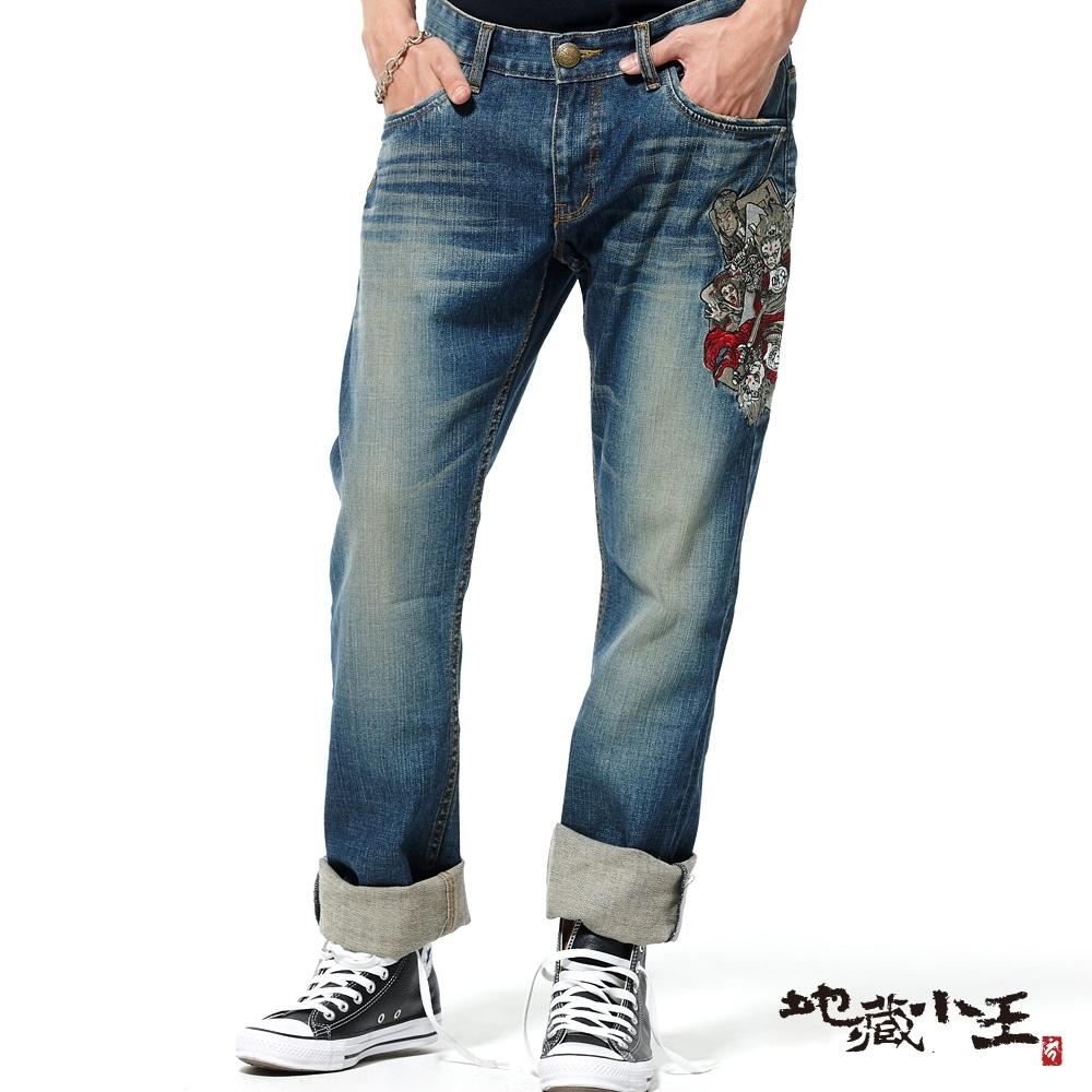 地藏小王  BLUE WAY  -  撲克逆襲彈性低腰直筒褲(牛仔藍)