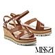 涼鞋 MISS 21 簡約質感繫帶牛皮楔型高跟涼鞋-咖 product thumbnail 1