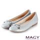 MAGY 菱格紋縫線真皮 女 平底鞋 淺藍 product thumbnail 1