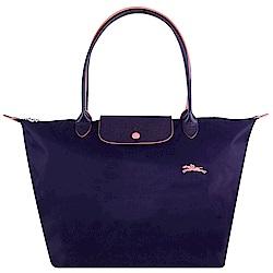 Longchamp Collection尼龍布刺繡品牌長背帶水餃包(紫/大)