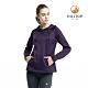 【hilltop山頂鳥】女款ZISOFIT保暖吸濕抗菌刷毛上衣H51FI8黑紫傘 product thumbnail 1