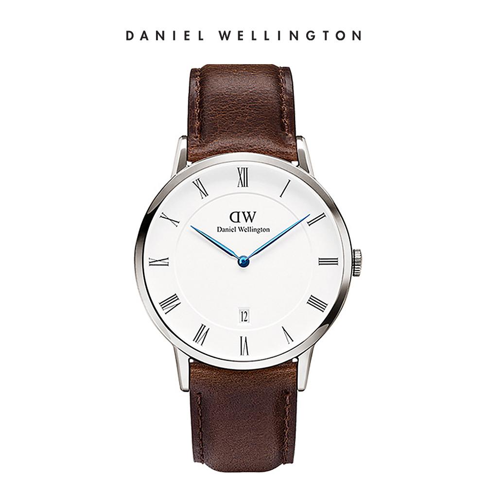 DW 手錶 官方旗艦店 38mm銀框 Dapper 深棕真皮皮革錶