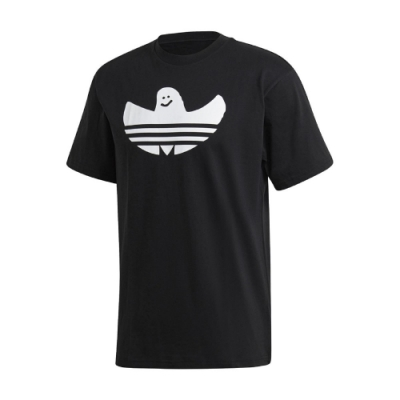 adidas T恤 Graphic Shmoo Tee 男款 愛迪達 三葉草 小精靈 塗鴉 圓領 棉質 黑 白 GK2905