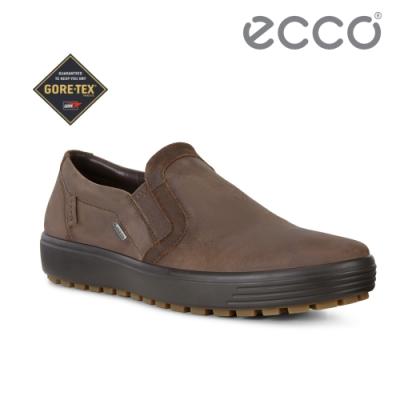 ECCO SOFT 7 TRED M 舒適防水套入式休閒鞋 男-棕色
