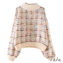 彩色毛線編織格紋針織上