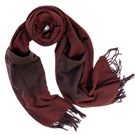 COACH酒紅色羊毛披肩雙口袋套手長圍巾(228x50cm)