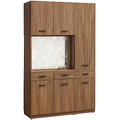 文創集 藍柏蒂時尚4尺多功能雙面隔間櫃/鞋櫃組合-120x40x195cm免組