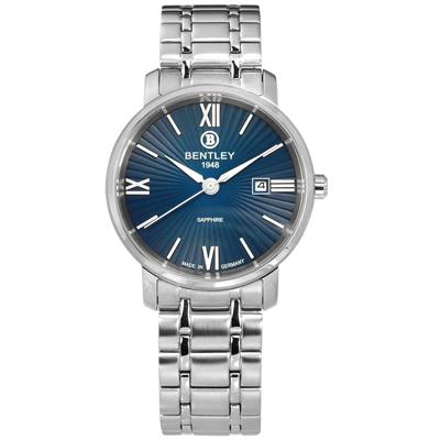BENTLEY 賓利 放射錶盤 德國製造 藍寶石水晶玻璃 不鏽鋼手錶-藍色/32mm