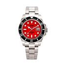 HYUN炫 男士設計精品錶-白鋼紅底