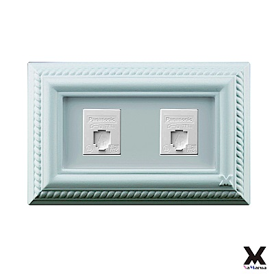 VaMarssa四方匯財 冷漿陶瓷 雙孔插座開關蓋 (卡準式-綠)