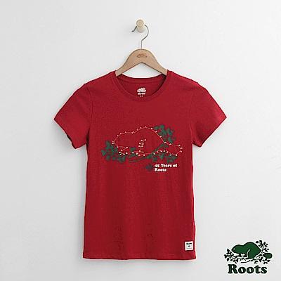 Roots -女裝- 連線海狸短袖T恤 - 紅