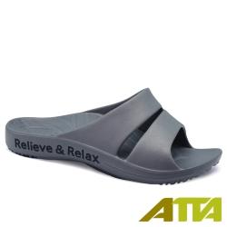 ATTA 簡約雙帶足弓休閒拖鞋-鐵灰
