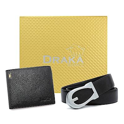 DRAKA 達卡 - 黃金禮盒 真皮皮夾+紳士皮帶-8364