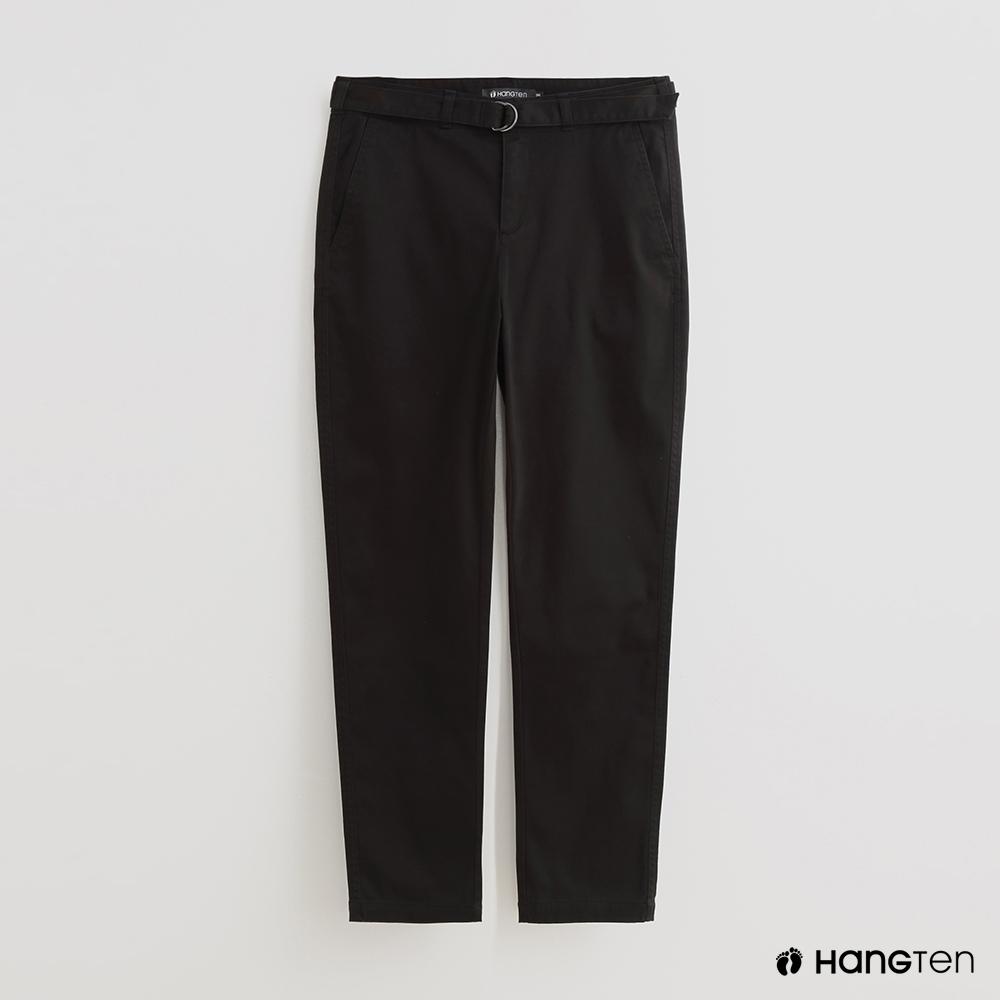 Hang Ten - 女裝 - 純色假腰帶裝飾休閒長褲 - 黑