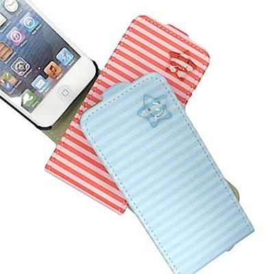 HAPPYMORI Apple iPhone 5/5S 條紋星星 掀蓋式皮套